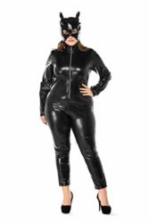Womens-Halloween-Night-Club-Masquerade-Black-Catwoman-Jumpsuit-Costume-PU-Plus-Size-Set-0