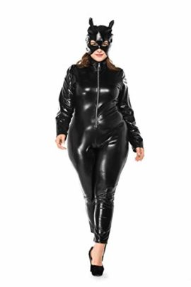 Womens-Halloween-Night-Club-Masquerade-Black-Catwoman-Jumpsuit-Costume-PU-Plus-Size-Set-0-2