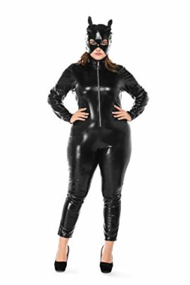 Womens-Halloween-Night-Club-Masquerade-Black-Catwoman-Jumpsuit-Costume-PU-Plus-Size-Set-0-3