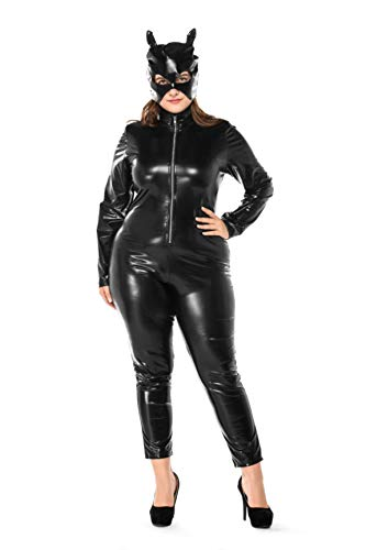 Women's Halloween Night Club Masquerade Black Catwoman Jumpsuit Costume PU Plus-Size Set