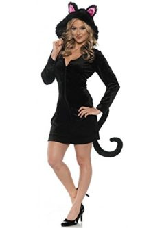Womens-Hooded-Black-Cat-Costume-Mini-Dress-wTail-0