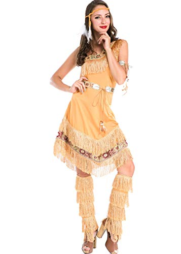 Women's Native American Indian Tassels Dress for Halloween Carnival Costume Cosplay