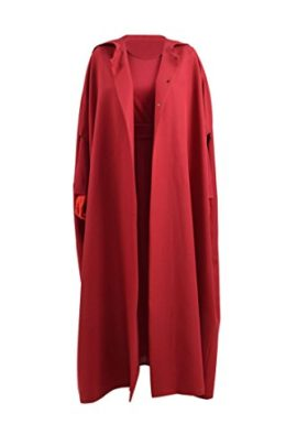 Xiao-Maomi-Womens-Girls-Red-Dress-Maid-Handmaid-Cosplay-Costume-Halloween-Long-Cloak-0-3
