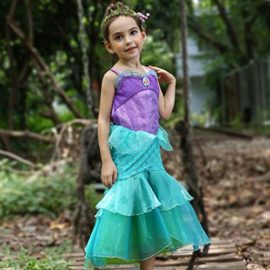 YaphetS-Little-Girls-Mermaid-Princess-Fancy-Costume-Fairy-Tales-Dresses-with-Free-Crown-Ring-and-Magic-Wand-0-2