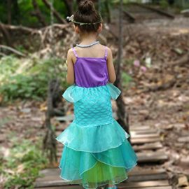 YaphetS-Little-Girls-Mermaid-Princess-Fancy-Costume-Fairy-Tales-Dresses-with-Free-Crown-Ring-and-Magic-Wand-0-4