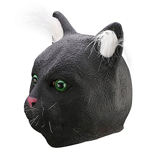 Ylovetoys Halloween Mask Cat Costume Head Mask Novelty Halloween Costume Party Masks Funny Latex Animal Head Mask