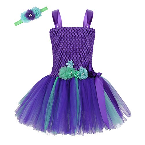 dPois Kids Girls' Little Mermaid Halloween Birthday Cosplay Party 2Pcs Fancy Outfits Mesh Tutu Dress with Headband