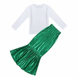 iEFiEL-Kids-Little-Mermaid-Dress-up-Skirt-Shell-T-Shirt-Outfit-Girls-Princess-Clothes-Halloween-Cosplay-Party-0-1