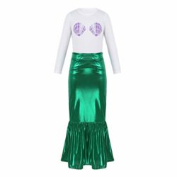 iEFiEL-Kids-Little-Mermaid-Dress-up-Skirt-Shell-T-Shirt-Outfit-Girls-Princess-Clothes-Halloween-Cosplay-Party-0-2