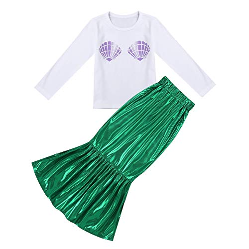 ACSUSS Girls Halloween Mermaid Cosplay Costumes Shiny Long Sleeve T-shirt+Dress Outfits