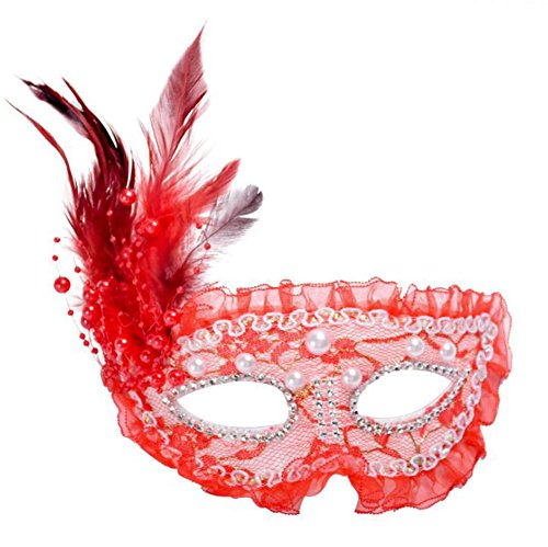 jingyuu Feather Lace Half Face Novelty Halloween Masks Costume Masquerade Party Latex Dance Party Prom Cosplay Mask