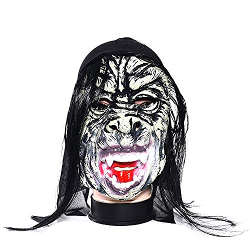 jingyuu Horror Wig Long Hair Novelty Halloween Masks Costume Masquerade Party Latex Dance Party Prom Cosplay Mask