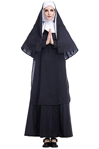 joo meryer Adult Women's Nun Habit Halloween Cosplay Costume Roleplay Dress
