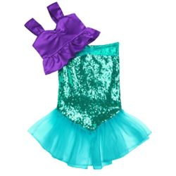 ranrann-Kids-Girls-2PCS-Shiny-Sequins-Halloween-Cosplay-Costume-Theme-Party-Tops-with-Skirts-Outfits-0-0