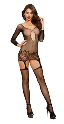 Dreamgirl-Womens-Fishnet-Long-Sleeve-Garter-Dress-with-Attached-Garters-and-Thigh-High-Stockings-0