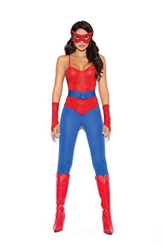 Female Spider Super Hero Halloween Roleplay Costume 5pc Set