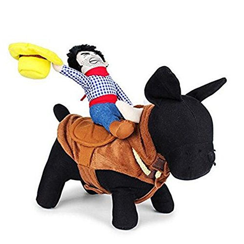 NACOCO Cowboy Rider Dog Costume for Dogs Outfit Knight Style with Doll and Hat for Halloween Day Pet Costume