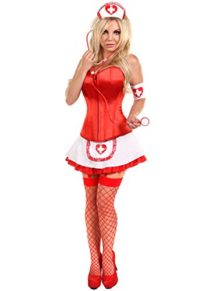 Red-Women-4-pcs-Sexy-Nurse-Corset-Costume-with-Skirt-Halloween-Cosplay-Outfit-0