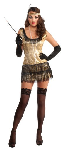 Rubie's Costume Deluxe Adult Gold Sequin Flapper Dress