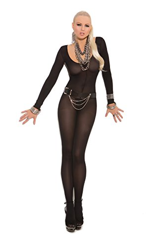Sexy Women's Opaque Long Sleeve Open Crotch Bodystocking One Piece Lingerie