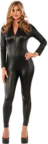 Womens-Black-Secret-Agent-Slinky-Metallic-Stretch-Jumpsuit-Costume-0