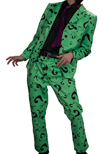 XCOSER Mens Question Mark Costume Suit for Halloween Villain Cosplay