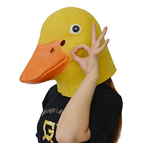 LarpGears Deluxe Novelty Halloween Latex Duck Mask Adult Size Yellow and Blue