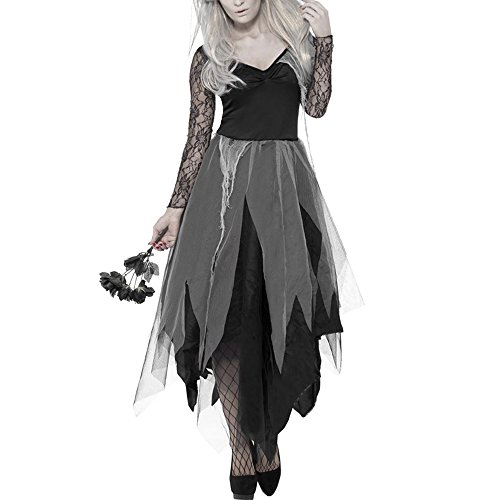 Scorpiuse Halloween Zombie Bride Costume Ghost Corpse Bride Dress for Adult Women