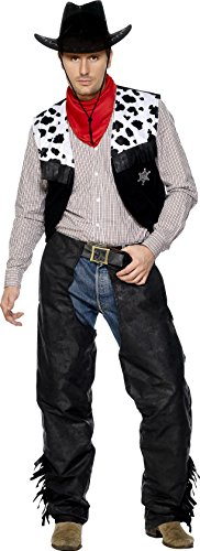 Smiffy's Men's Cowboy Leather Costume with Chaps Waistcoat Belt and Neckerchief