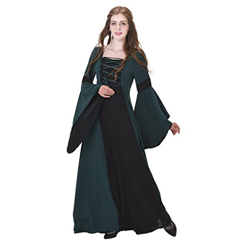 1791's lady Medieval Renaissance Princess Hooded Gown Dress NQ0022