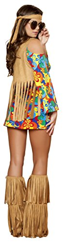 3-Piece-Hippie-Sexy-Flower-Child-Groovy-Mini-Dress-Fringe-Vest-Costume-0