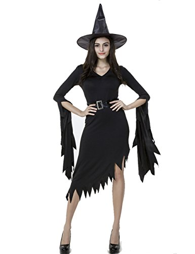 Colorful House Women Halloween Classic Black Witch Costume with Cap