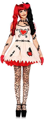 Creepy Cute Voodoo Puppet Stitched Dress Outfit Rag Doll Costume Adult Women