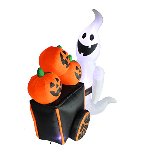 Joiedomi halloween inflatable blow up ghost pushing cart