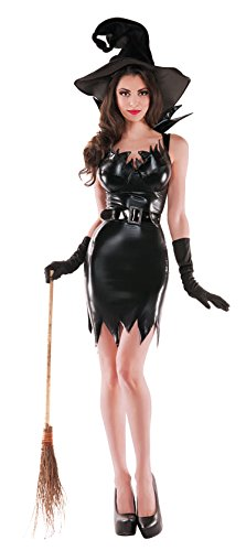 Party King Women's Liquid Black Sexy Witch 3 Piece Costume Set
