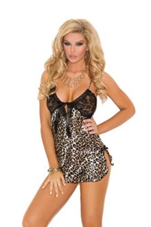 Sexy-Charmeuse-Animal-Print-Chemise-With-Lace-Cups-Sleepwear-Lingerie-0