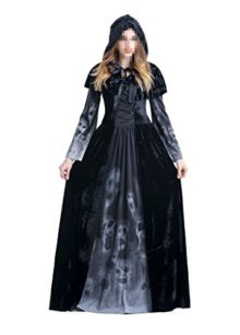 Womens-Halloween-Ghost-Witch-Hooded-Costume-Cloak-Dress-Outfit-Black-0