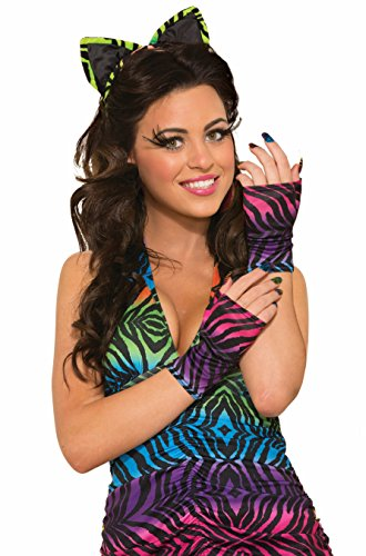 Womens Sexy Rainbow Tiger Print Party Animal Fingerless Gloves