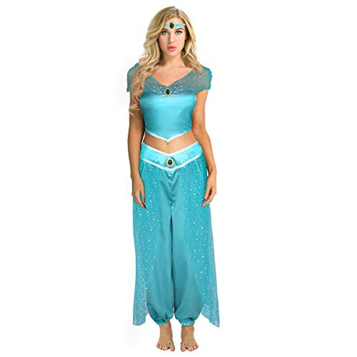 Agoky Women's Adult Aladdin's Lamp Princess Halloween Cosplay Costume Outfit Suit Hat Lingerie Set