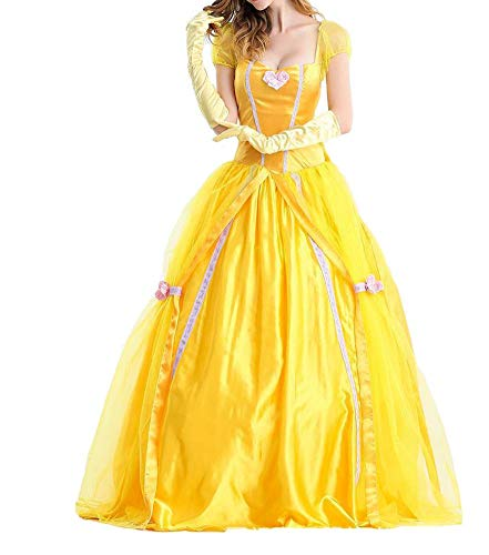 BADI NA Adult Womens Princess Belle Costume Belted Dress Up for Halloween Party Show Cosplay