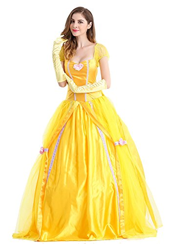 Beautiful Women and The Beast Costume Cosplay Belle Princess Long Dress with Pannier