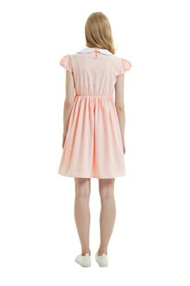 Oulooy-Womens-Pure-Pink-Peter-Pan-Collar-Costume-Dress-Short-Sleeve-with-Socks-0-0