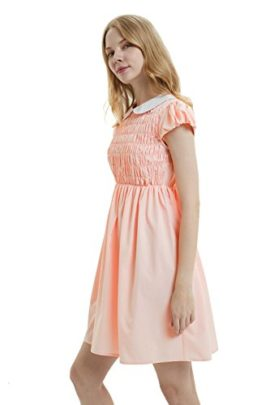 Oulooy-Womens-Pure-Pink-Peter-Pan-Collar-Costume-Dress-Short-Sleeve-with-Socks-0-2
