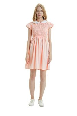 Oulooy-Womens-Pure-Pink-Peter-Pan-Collar-Costume-Dress-Short-Sleeve-with-Socks-0-3