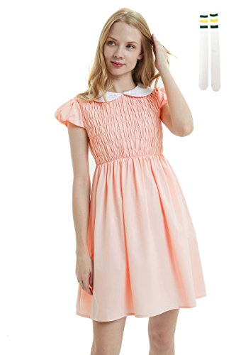 Oulooy Women's Pure Pink Peter Pan Collar Costume Dress Short Sleeve with Socks