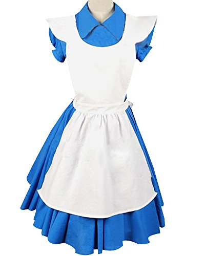 Sidnor Alice in Wonderland Movie/Film Blue Cosplay Costume Outfit Suit Maid Dress Apron