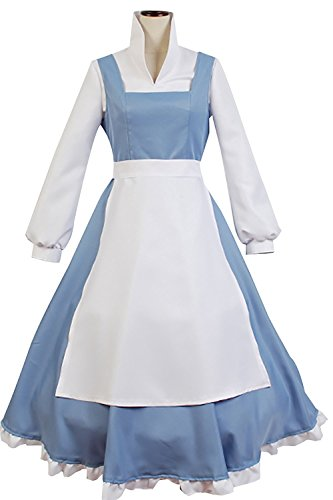 Sidnor Beauty and The Beast Cosplay Costume Princess Belle Outfit Maid Dress Suit Ball Gowns