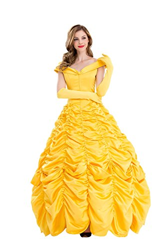 VOSTE Belle Costume Dress Halloween Princess Cosplay Party Show Dresses for Women Girls