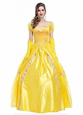 WELVT-Women-Adult-Size-Belle-Costume-Cosplay-Halloween-Party-Show-Dress-with-Gloves-0-1