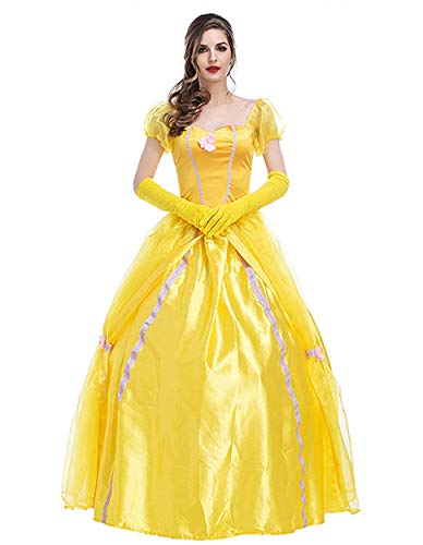 WELVT Women Adult Size Belle Costume Cosplay Halloween Party Show Dress with Gloves